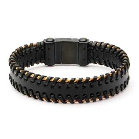 Cable Edge Leather Bracelet // Black