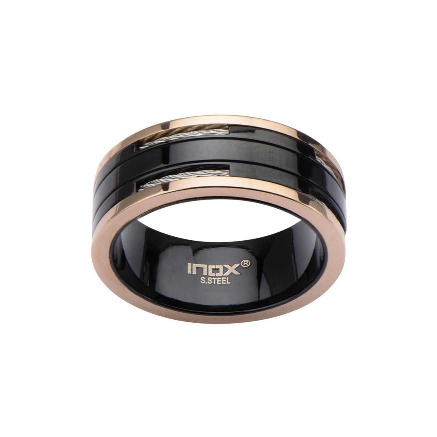 cable inlay ring black rose gold size 9 inox. Black Bedroom Furniture Sets. Home Design Ideas
