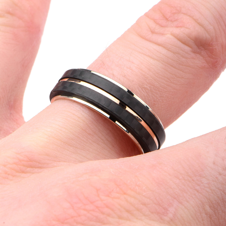 Carbon Fiber Stripes Ring // Black + Rose Gold (Size: 9) - Inox ...