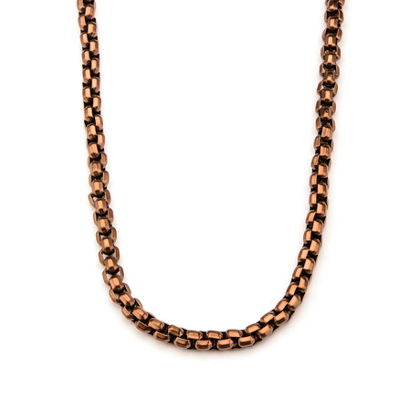 Rose Gold Round Box Chain Necklace // Rose Gold