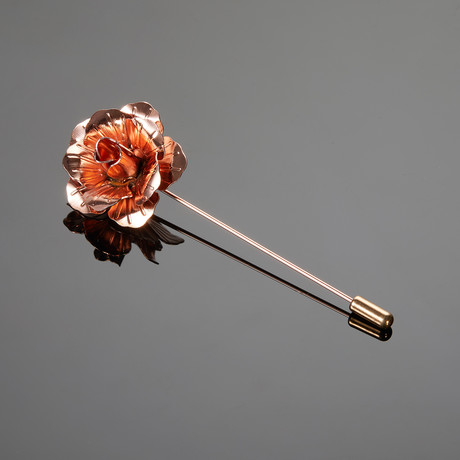 Metal Flower Lapel Pin // Rose Gold
