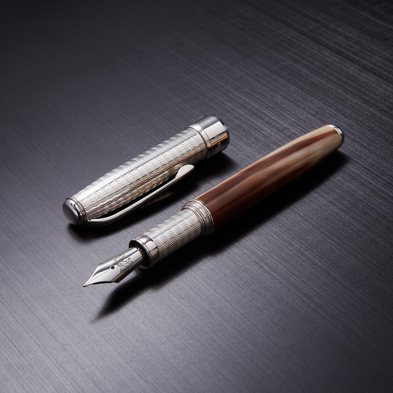 Bog Oak Roller Pen // Fossil Wood + Silver (Roller Pen // Blue