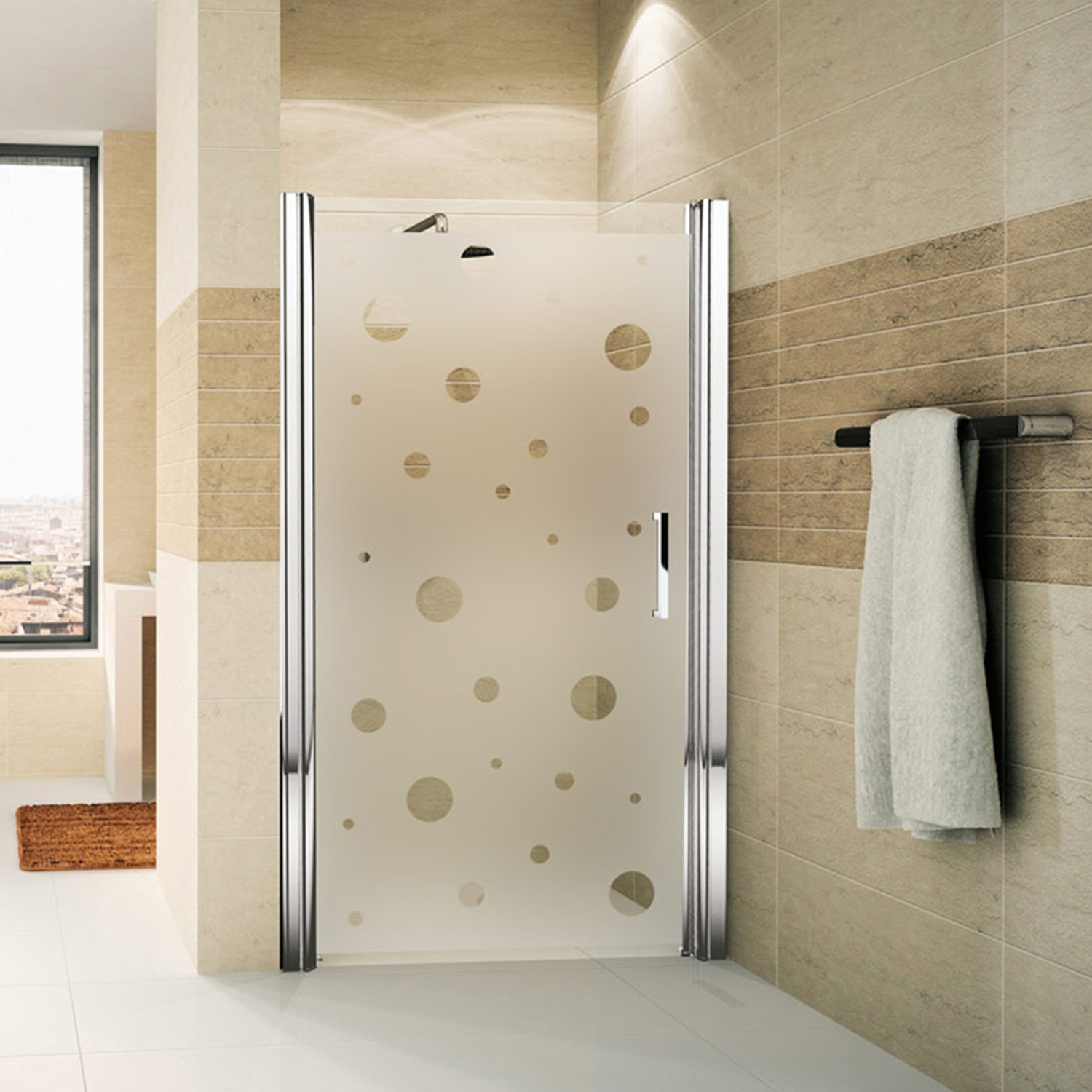 Bubbles shower door decal