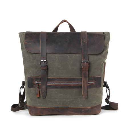 Campground Leather Canvas Backpack