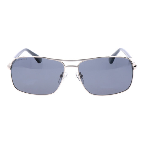 Polarized Square Aviators // Silver + Grey