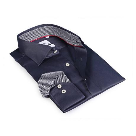 Reid Button-Up Shirt // Dark Blue + Black + White (US: 15R)