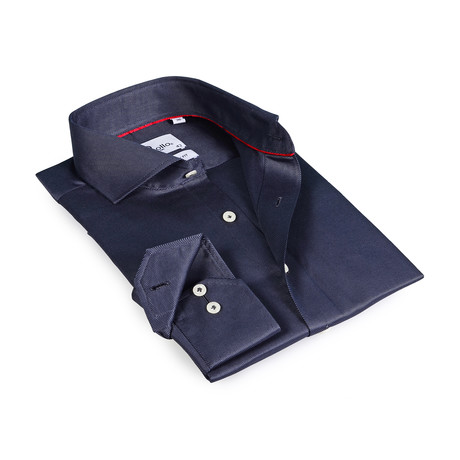 Trevor Button-Up Shirt // Dark Blue Charcoal (US: 15R)