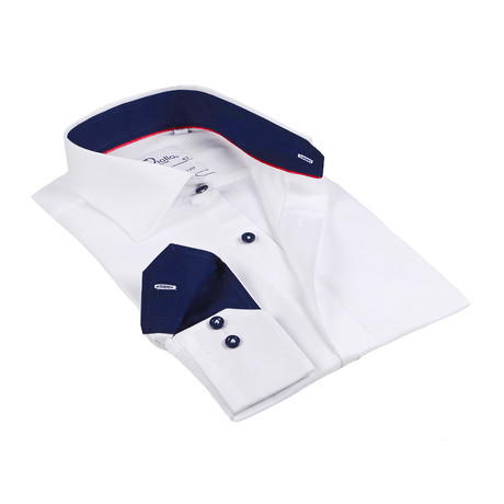 Ryan Button-Up Shirt // White + Navy (US: 15R)