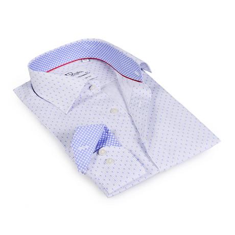 Todd Button-Up Shirt // White + Light Blue