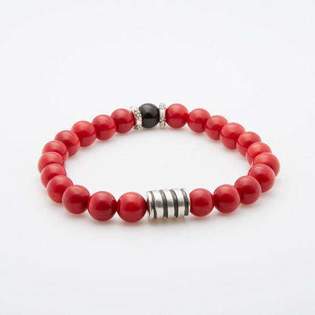 Red Bamboo + Coral Silver Charm Bracelet // Red + Silver