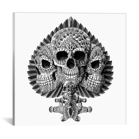 Skull Spade White
