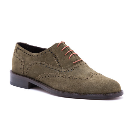 Suede Wing-Tip Oxford // Military Green