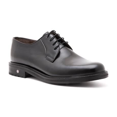 Polished Plain Toe Derby // Black