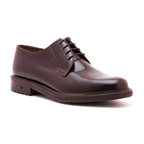 Polished Plain Toe Derby // Brown