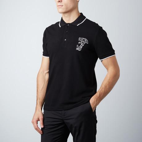 Embroidered Logo Contrast Striped Collar Polo // Black
