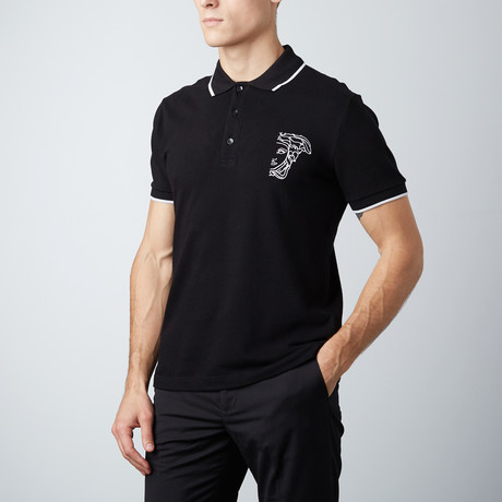 Embroidered Logo Contrast Striped Collar Polo // Black (S)