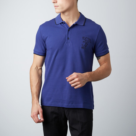 Embroidered Logo Contrast Striped Collar Polo // Blue