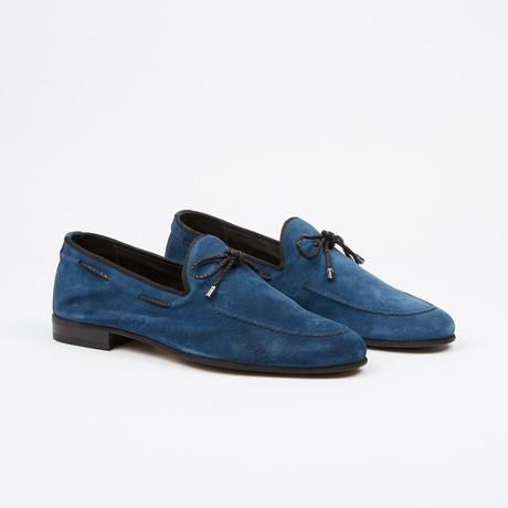 Suede Tie Loafer // Blue