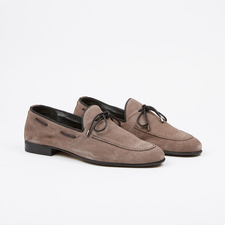 Suede Tie Loafer // Grey (US: 7)