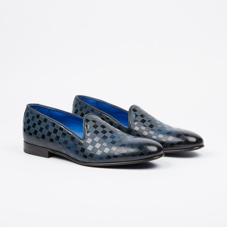 Checkered Printed Loafer // Navy