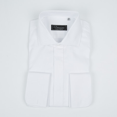 Paolo Lercara // Modern Fit French Cuff Button-Up Shirt With Fly Front // White (US: 15R)