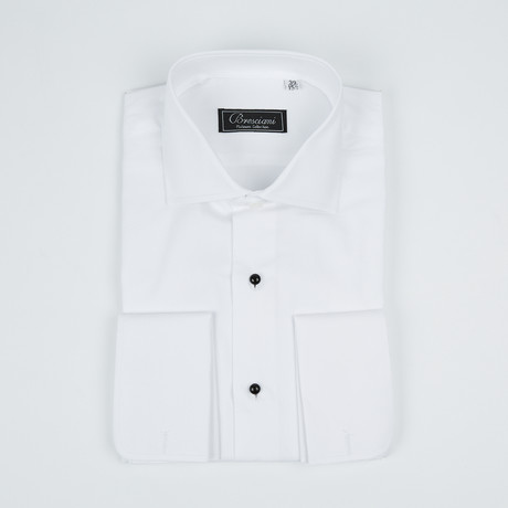 Paolo Lercara // Modern Fit French Cuff Button-Up Shirt With Studs // White