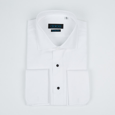 Bella Vita // Slim Fit French Cuff Button-Up Shirt With Studs // White (US: 15R)