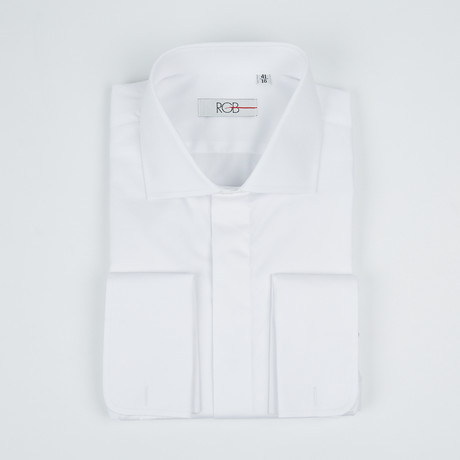 Bella Vita // Premium Slim Fit French Cuff Button-Up Shirt With Fly Front // White (US: 15R)