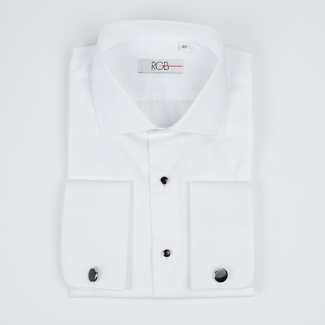 Bella Vita // Premium Slim Fit French Cuff Button-Up Shirt With Studs // White (US: 15R)