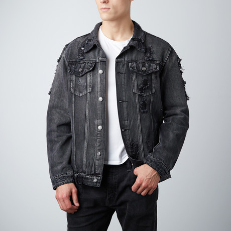 Distressed Denim Jacket // Black (S)
