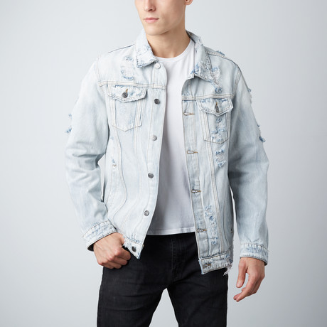 Distressed Denim Jacket // Light Indigo (S)