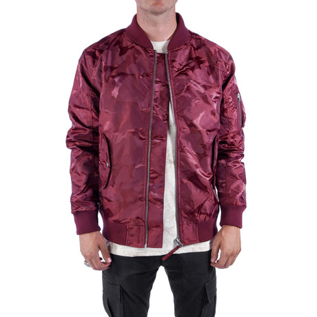 Tonal Fatigue Bomber Jacket // Burgundy (S)