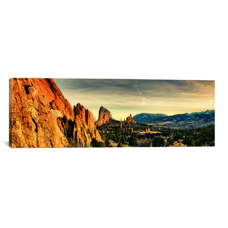 "Colorado Springs Panoramic Skyline Cityscape // Unknown Artist (60""W x 20""H x 0.75""D)"