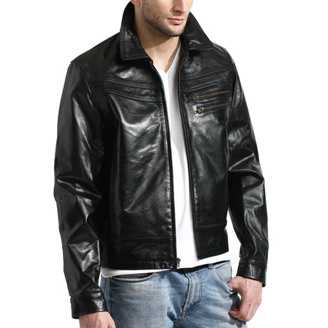 Distressed James Dean Jacket // Black (M)