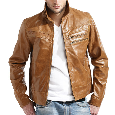 Distressed James Dean Jacket // Cognac (XL)