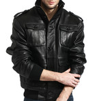 Leather Safari Bomber // Black (M)