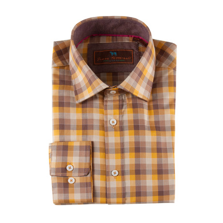 Multi-Check Spread Collar Button-Up Shirt // Orange (XS)