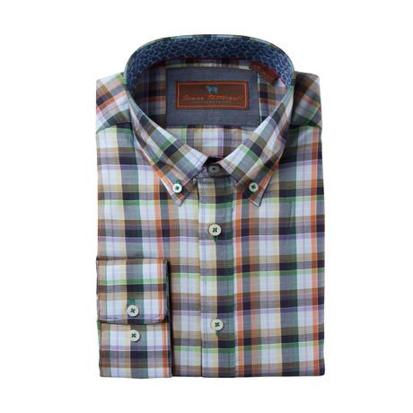 James T. Woven Button-Down Collar Shirt // Green
