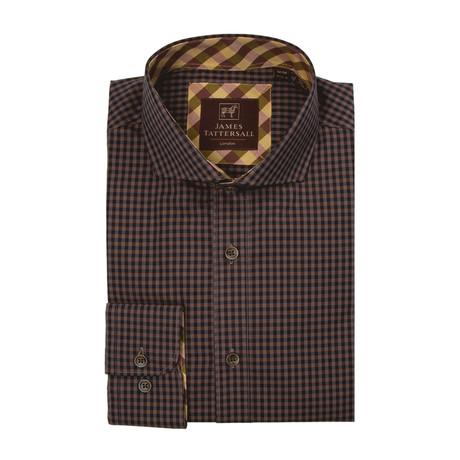 St. Ives Check Cutaway Collar Button-Up Shirt // Mustard
