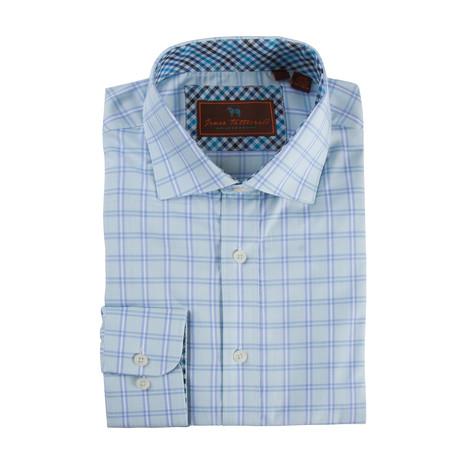 Spread Collar Button-Up Shirt // Aqua + Light Blue