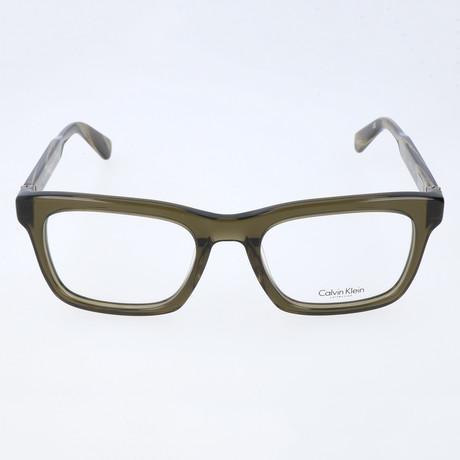 Brock Thick Rim Rectangular Frame // Olive Crystal