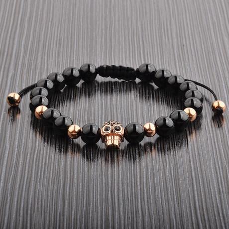 Onyx + Skull Bead Shocker Tie Bracelet // Black + Rose Gold