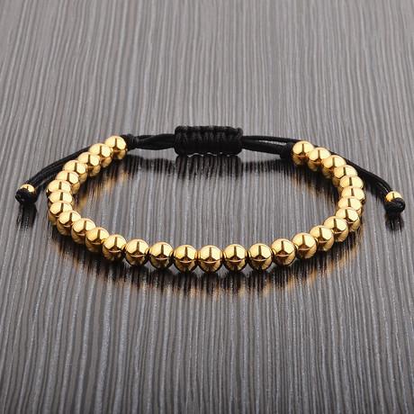 Gold Plated Stainless Steel Bead Shocker Tie Bracelet // Gold