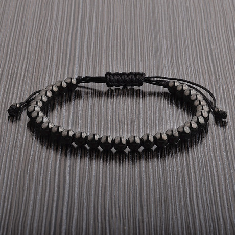 Black Stainless Steel Bead Shocker Tie Bracelet // Black