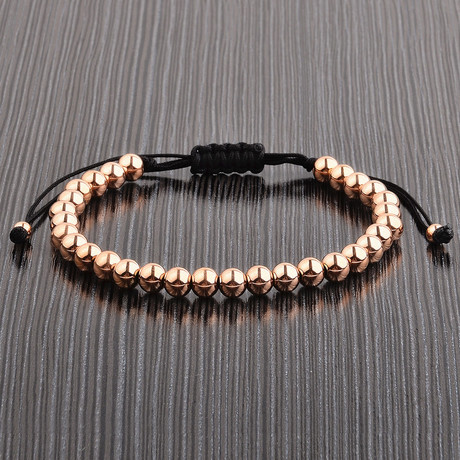 Rose Gold Plated Stainless Steel Bead Shocker Tie Bracelet // Rose Gold
