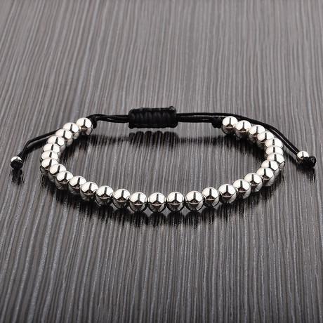 Stainless Steel Bead Shocker Tie Bracelet // Silver + Black