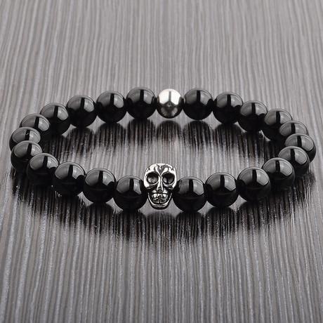 Onyx + Steel Bead Skull Stretch Bracelet // Black + Silver