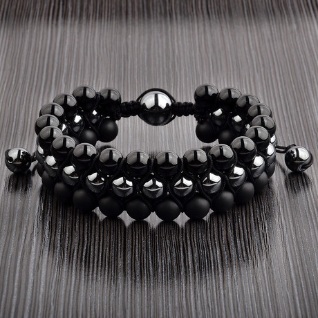 Hematite + Onyx Triple Layer Beaded Macrame Bracelet // Black + Silver
