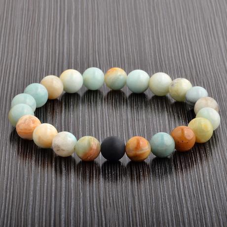Amazon + Onyx Stone Bead Bracelet // Ivory + Green + Black