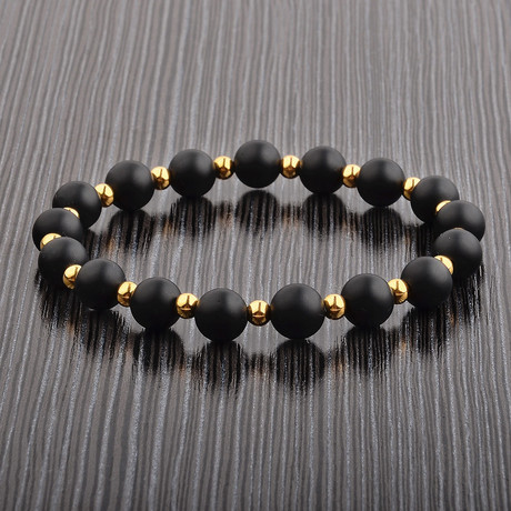 Onyx + Stainless Steel Plated Bead Bracelet // Black + Gold